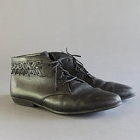MAYA LUNE Vintage Black Woven Leather Oxford Ankle Boots