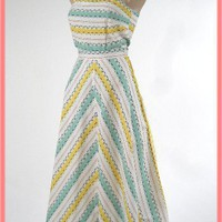 1940s Geometric Stripe Playsuit Skirt Set-40's Vintage Beachwear