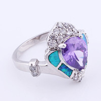 925 Silver Faceted Amethyst Heart Shaped Band Ring at Online Jewelry Store Gofavor