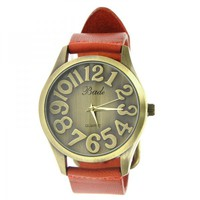 Fashion Big Face Watch with Cow Leather