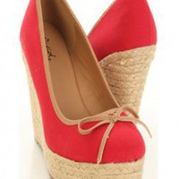 Red Canvas Round Toe Petite Bow Platform Espadrille Wedge Heel @ Amiclubwear Wedges Shoes Store:Wedge Shoes,Wedge Boots,Wedge Heels,Wedge Sandals,Dress Shoes,Summer Shoes,Spring Shoes,Prom Shoes,Women's Wedge Shoes,Wedge Platforms Shoes,floral wedges,Fash