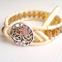 Vanilla leather bracelet boho  wrap bracelet by theflowerdesign