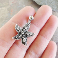 Silver Starfish Belly Button Jewelry Belly Ring