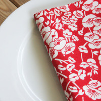 Soft Cotton Napkins - Red with White Blooms - Set of 4 Reversible Cloth