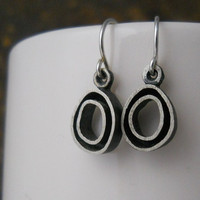 3D organic hoop earrings, sterling silver, hand forged, dangle, made to order