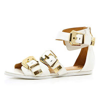 White chunky buckle sandals  - sandals - shoes / boots - women
