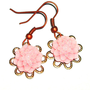 BUY 4 get 1 FREE..Cabochon light pink earrings dahlia flower brass filigree boho casual cyber feminine earrings- affordable mother day