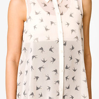 Dove Print High-Low Shirt | FOREVER 21 - 2048301421