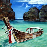Thai Longtail Fishing Boat  Original 18 x 24 Acrylic by bigapple60