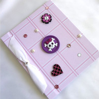 Button Photo Album Pink Plaid Skull Heart Flower by PowersOfLove
