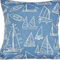 Nautical Sailboats Pillow Covers Outdoor Indoor Royal Blue Decorative Pair 18x18