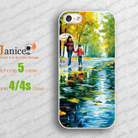 oil painting iphone 4 case,iphone 5 case, iphone cases 4/5,iphone protector, iphone 4 cover,mother&kids rainy road walking design W0015