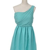 Amazon.com: Anna-Kaci S/M Fit Teal Green Braided Waist Pulled Drape Lace One Shoulder Dress: Clothing