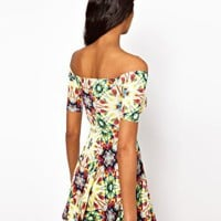 Oh My Love Off Shoulder Skater Dress in Jewel Print