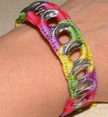 ReCycladelic Upcycled Pop Top Bracelet Pinwheel Bright by lanmom