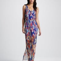 Printed Sheer-Skirt Maxi Dress