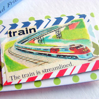 Paper Collage Magnet - Train - The Train Is Streamlined - Large Chipboard Decoupage