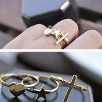 Adjustable 3 Rings Cross, Heart, Star