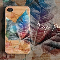 Apple iphone case for iphone iphone 5 iphone 4 iphone 4s iPhone 3Gs  : Abstract Bokeh Maple leaf pattern on wood background (not real wood)
