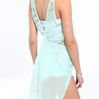 V Cut Lace Back Tank in Mint