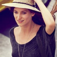 Free People Crochet Canvas Brimmed Hat