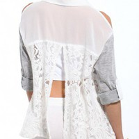 Cold Shoulder Mixed Fabric Blouse in White