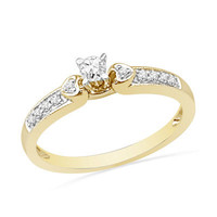 1/5 CT. T.W. Diamond Heart Accent Promise Ring in 10K Gold - View All Rings - Zales