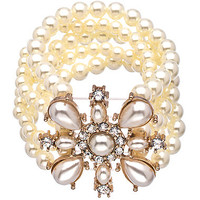 Lolita Jewelry Rose Gold Pearl and Crystal Five Strand Stretch Bracelet - Max & Chloe
