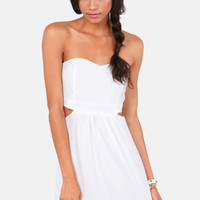 Notch to Mention Strapless Cutout White Dress