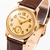 Antique men's watch Pobeda gold tone Soviet wrist watch retro watch mint condition