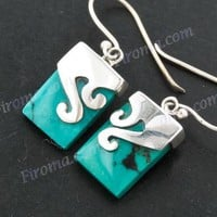 "9/16"" TURQUOISE 925 STERLING SILVER earrings"