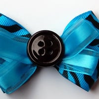 blue and black zebra bow READY TO SHIP by LittlePinkLeopard