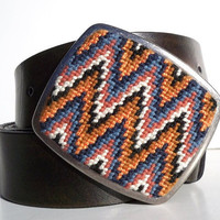 NEW  Needlepoint Sharp Chevrons Belt Buckle by NeedleYou on Etsy