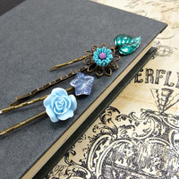 Flower Bobby Pins, Emerald Green &amp; Blue Bobbies Set , Spring Wedding Accessories by Flower Couture
