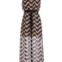 Addicted To Chevron Maxi Tan/Black | Bellum&Rogue