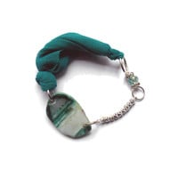 Fabric bracelet Emerald green bangle with  beads and agate for her - one of a kind - OOAK