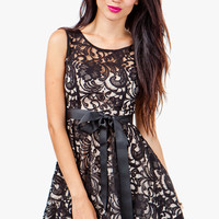 A'GACI Lace Overlay Fit & Flare Dress - DRESSES