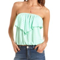 Striped Ruffle Tube Top: Charlotte Russe