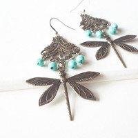 Dragonfly Earrings Turquoise Blue Earrings Boho Earrings Bohemian Earrings Nature Inspired Indie Dramatic Elegant Romantic Whimsical Dreamy