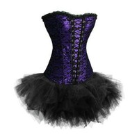 Purple Black Lace Gothic Overbust Fancy Dress