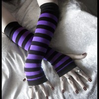 Purple & Black Striped Cotton Gloves