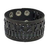 Bangle leather bracelet with black leather woven cuff bracelet women cuff bracelet jewelry bracelet friendship bracelet  d-340
