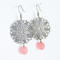 Vintage Inspired Bronze and Coral Czech Earrings