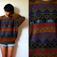Vtg Leather Trim Tribal Printed Green Grandpa Sweater