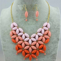 SakuraShop  Gradient Color Multi-layers Necklace Earring Set