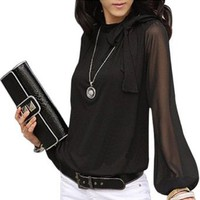 Amazon.com: Hee Grand Big Lantern Sleeve Chiffon Shirt Women R112: Clothing