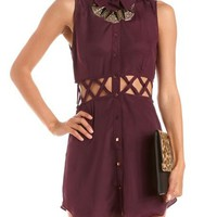 Lattice Cutout Sleeveless Shirt Dress: Charlotte Russe