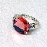 Pink Swarovski Wire Wrapped Ring 5.5""