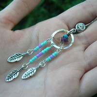 turquoise and purple dreamcatcher belly ring turquoise and amethyst in native american tribal boho hippie belly dancer and hipster style