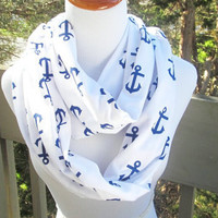 Nautical Anchor infinite scarf- Soft Jersey knit